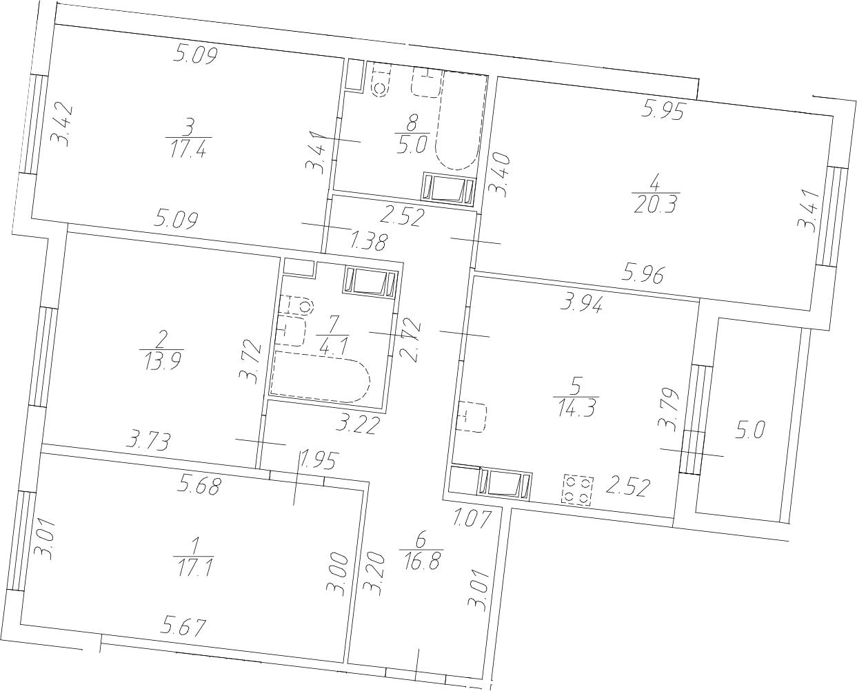 4-комнатная, 108.9 м²– 2