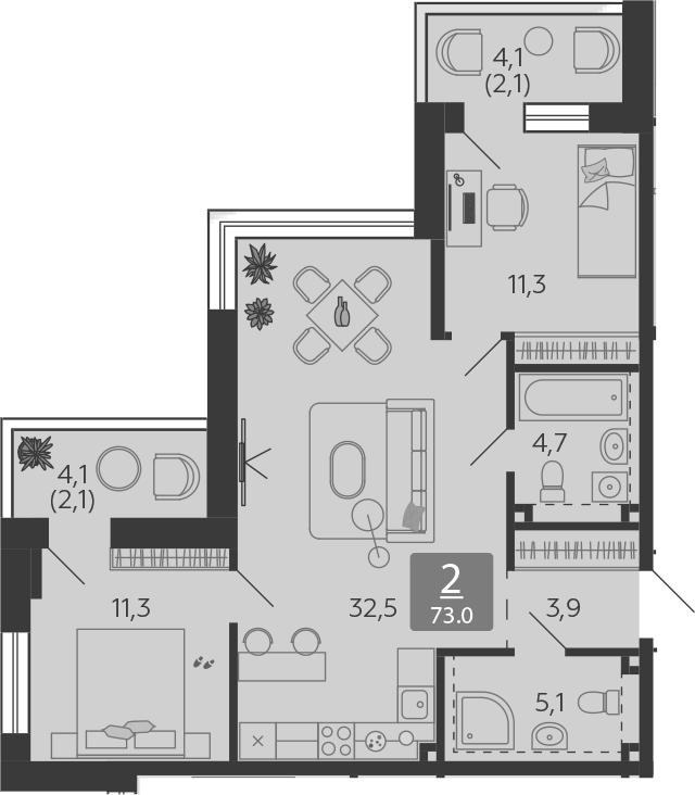 3Е-комнатная, 73 м²– 2