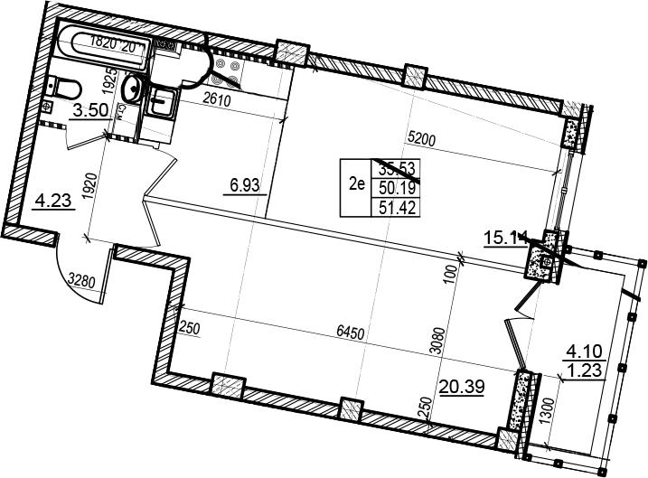 2Е-комнатная, 51.42 м²– 2