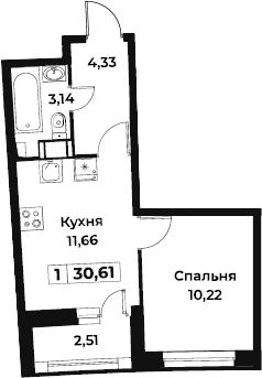1-к.кв, 30.61 м², 3 этаж
