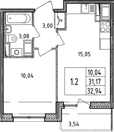 2Е-к.кв, 31.17 м²