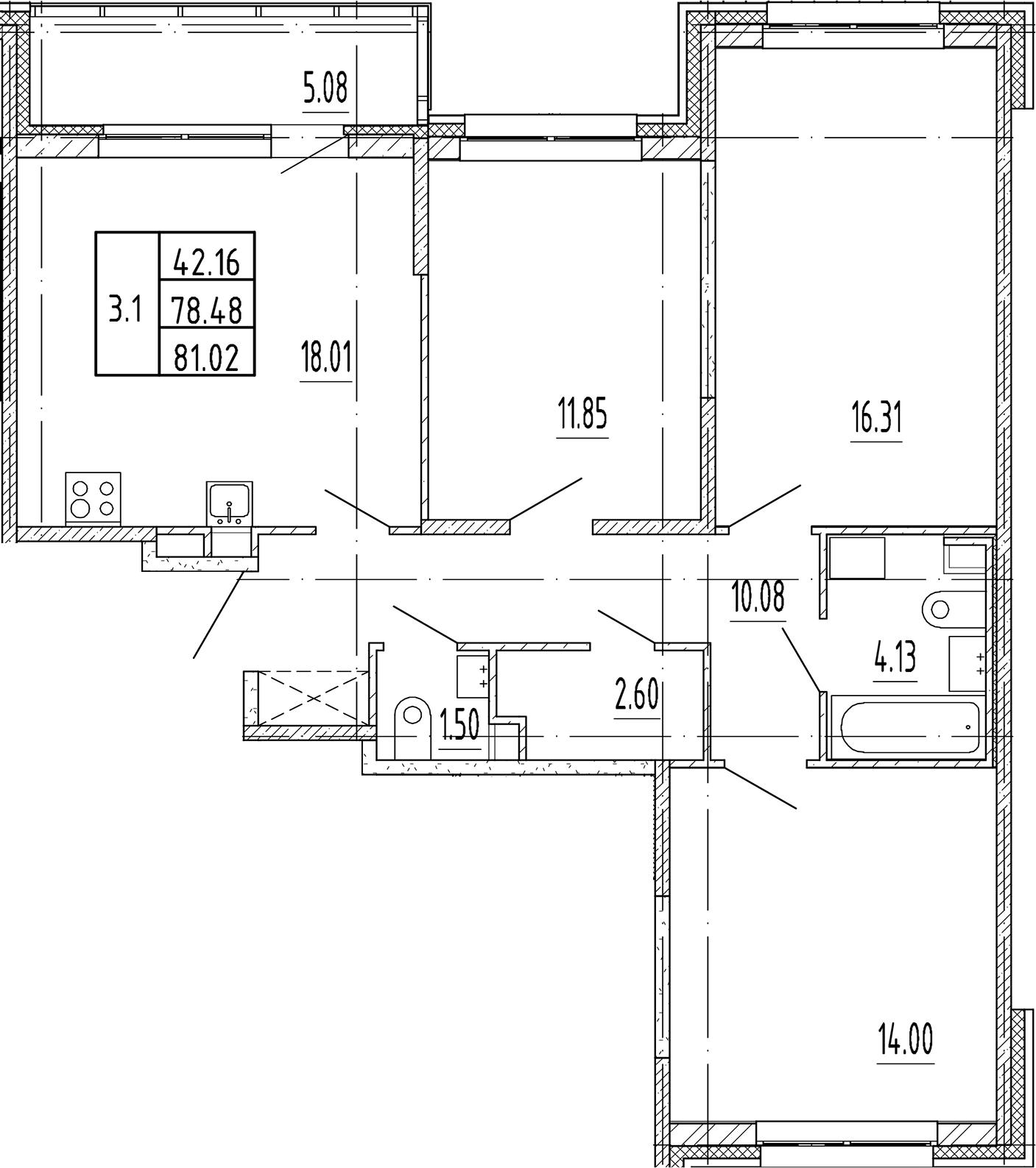 4Е-к.кв, 78.48 м²