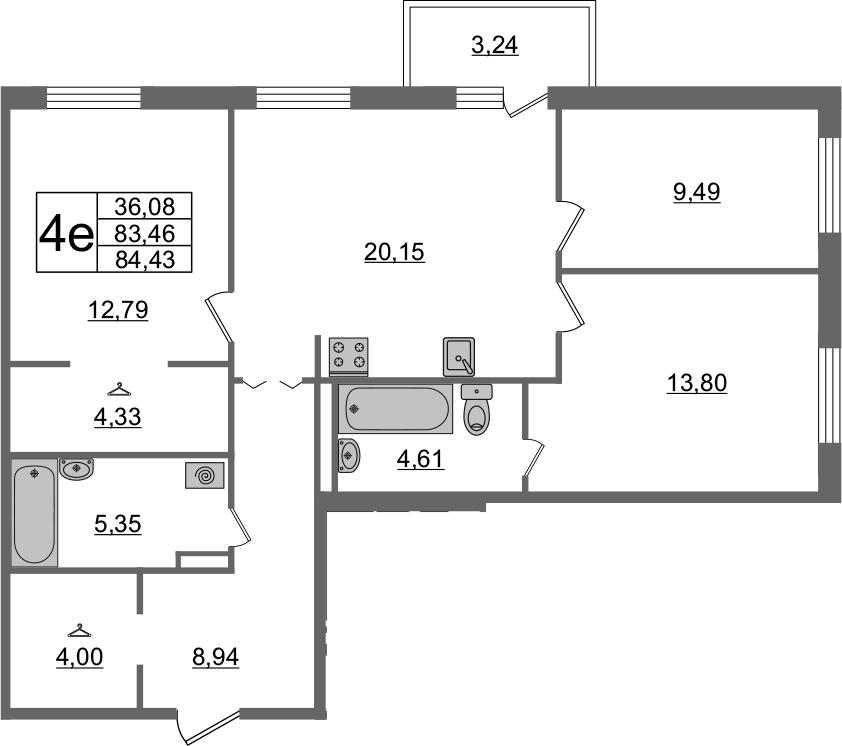 4Е-комнатная, 84.43 м²– 2