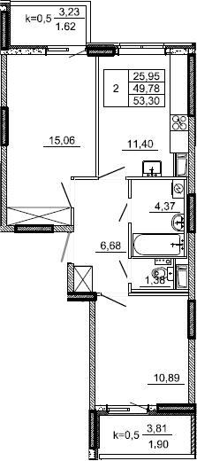 2-к.кв, 53.3 м², от 3 этажа