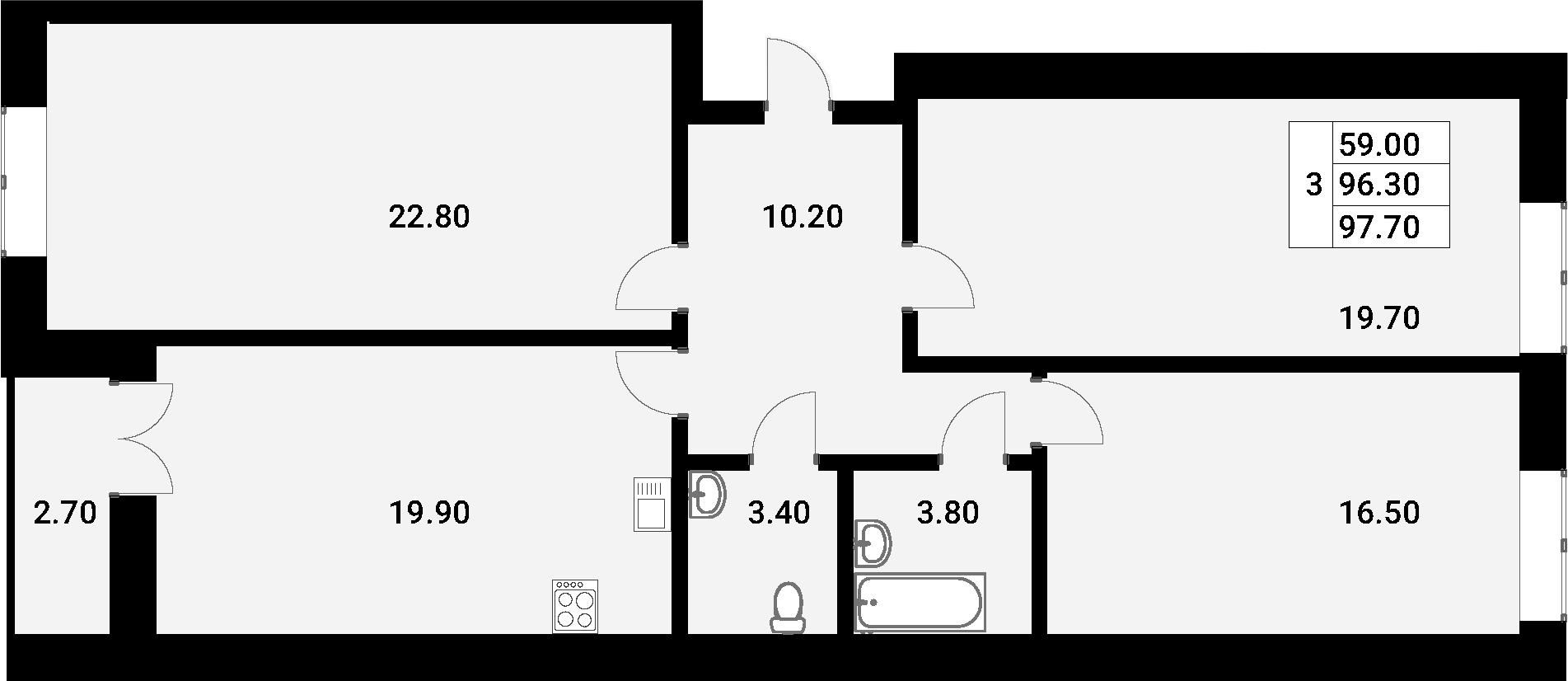 4Е-к.кв, 97.7 м², 2 этаж