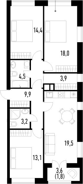 4-к.кв (евро), 90.1 м²