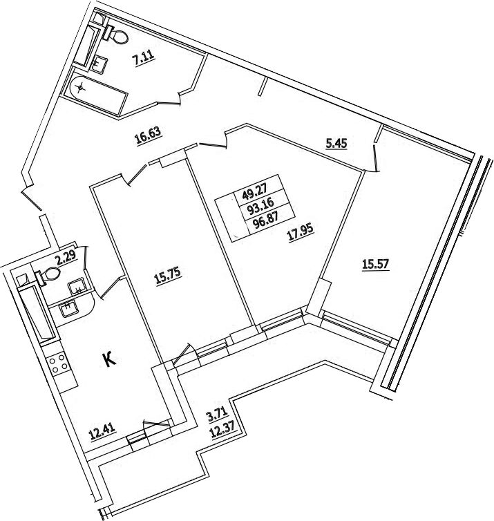 3-к.кв, 96.87 м²