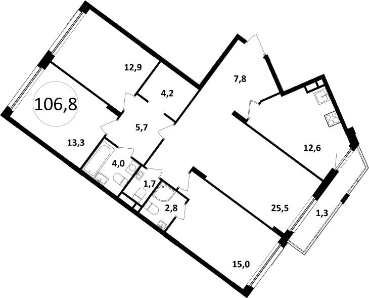 4-к.кв, 106.8 м²