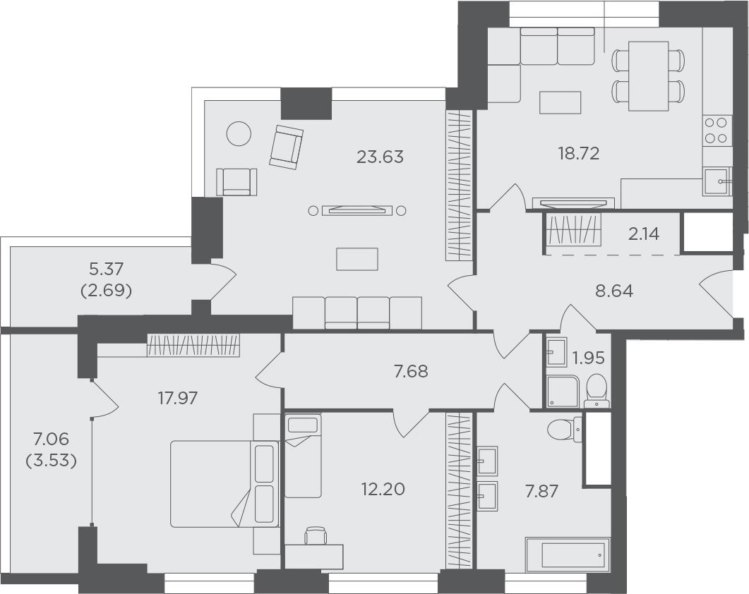 3-комнатная, 107.02 м²– 2