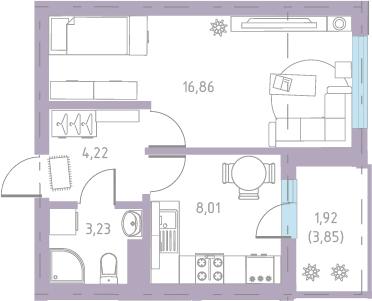 1-к.кв, 36.02 м²