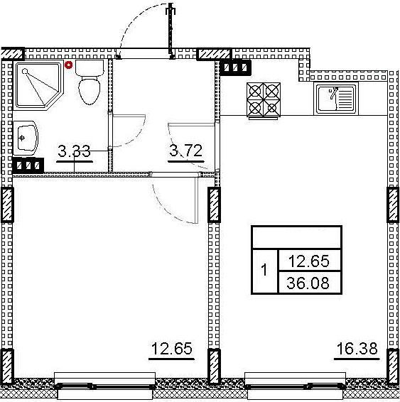2Е-комнатная, 36.08 м²– 2