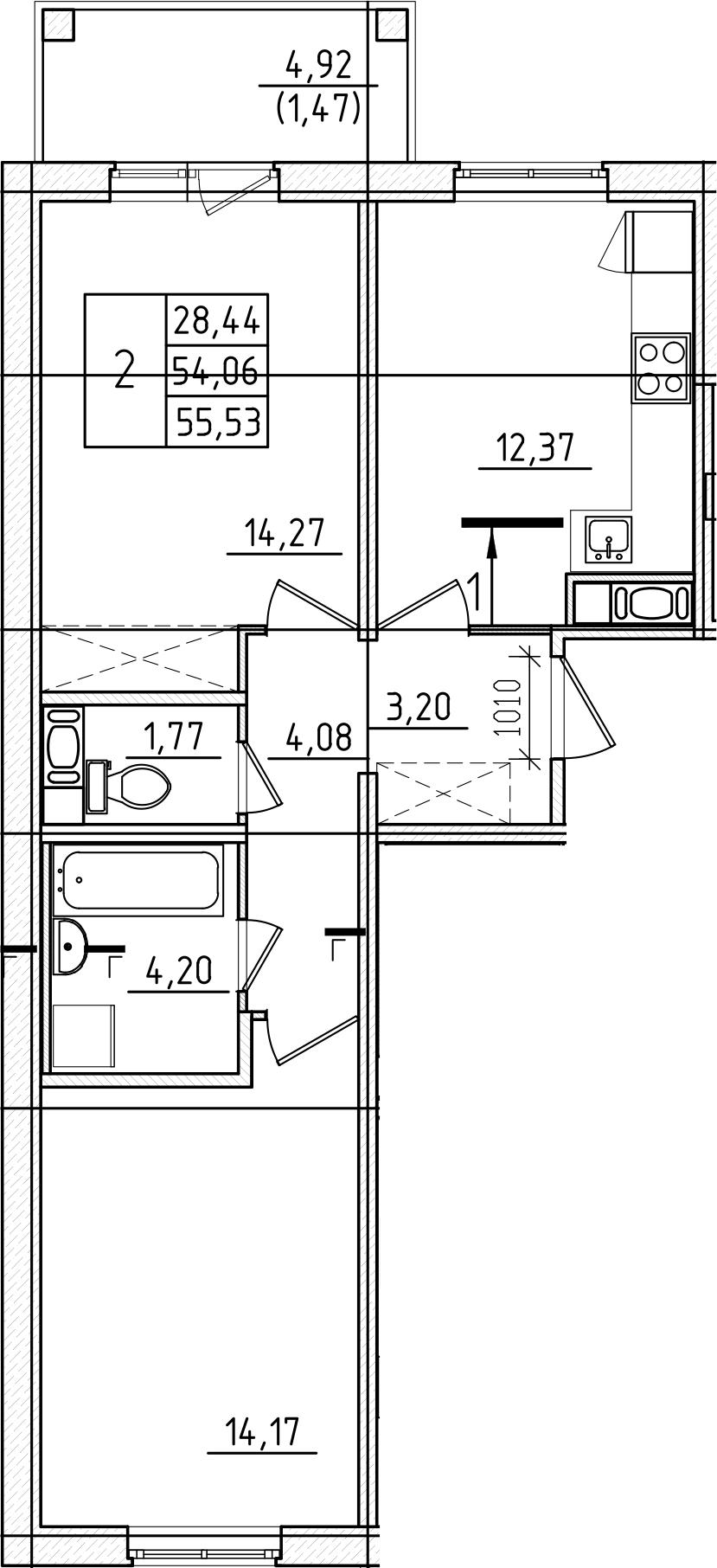 2-к.кв, 55.53 м², от 2 этажа