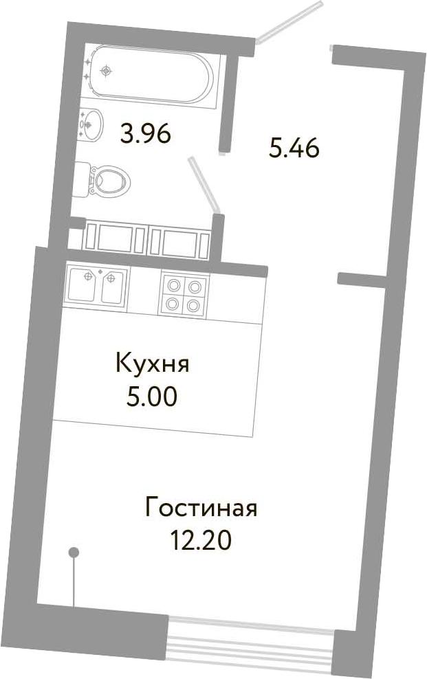 Студия, 26.62 м², от 7 этажа