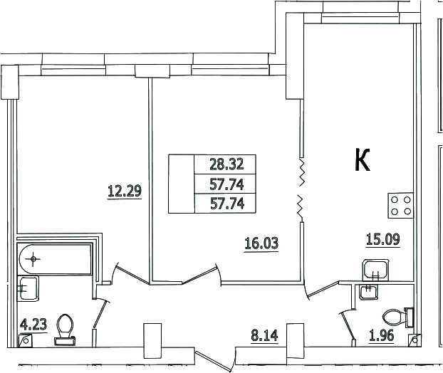 3Е-комнатная, 57.74 м²– 2