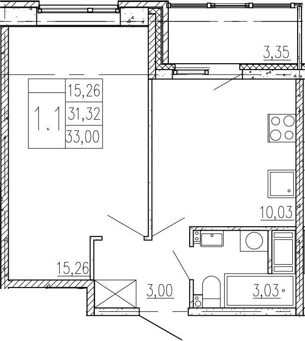 1-к.кв, 34.67 м²