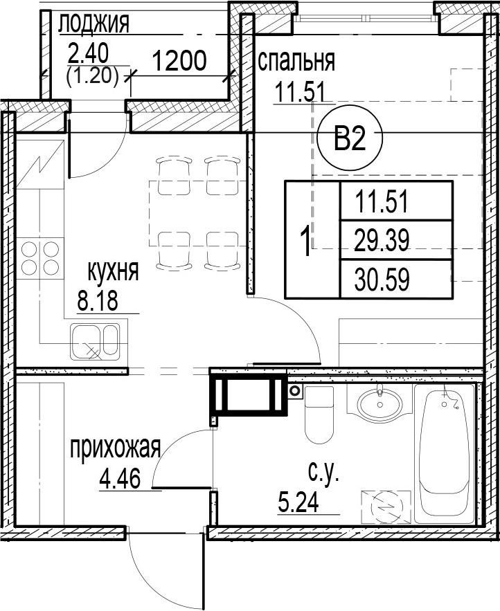 1-комнатная, 30.59 м²– 2