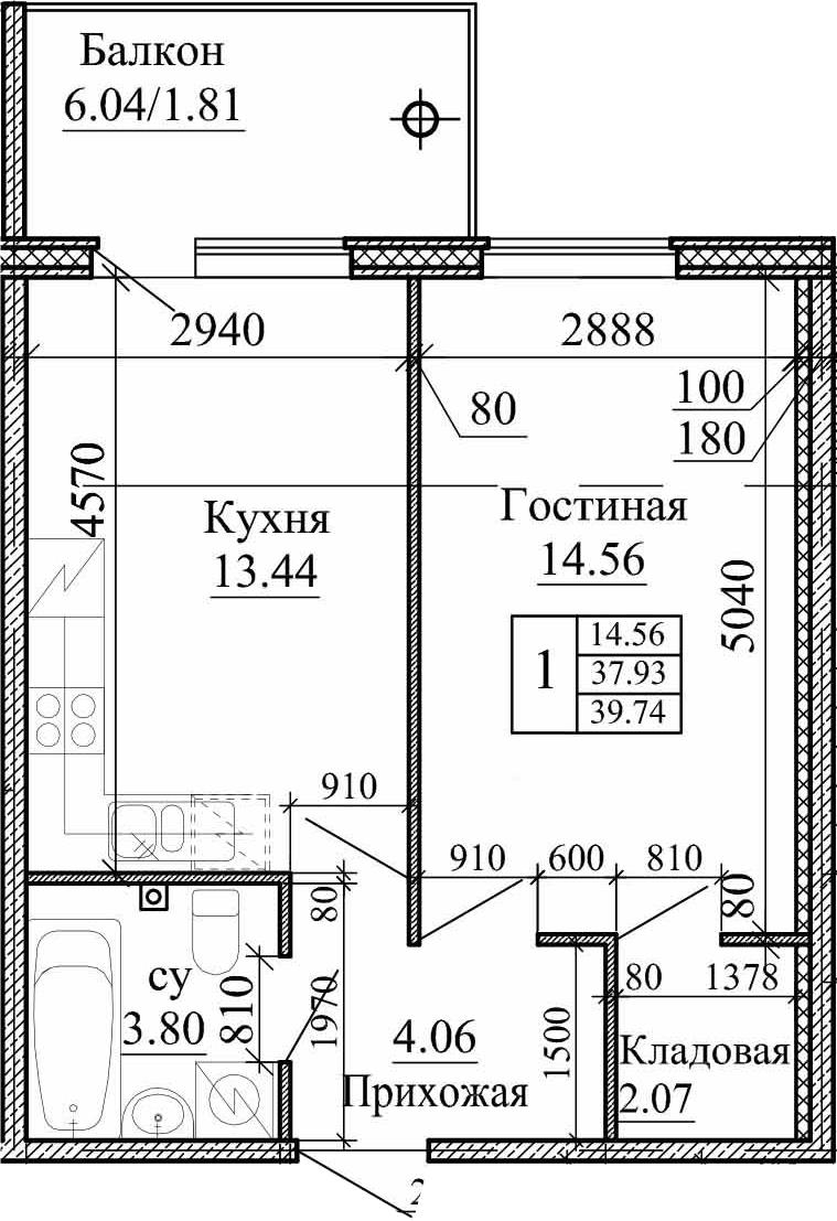 1-комнатная, 39.74 м²– 2
