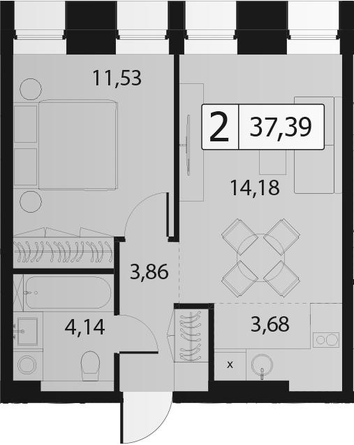 2-к.кв (евро), 37.39 м²