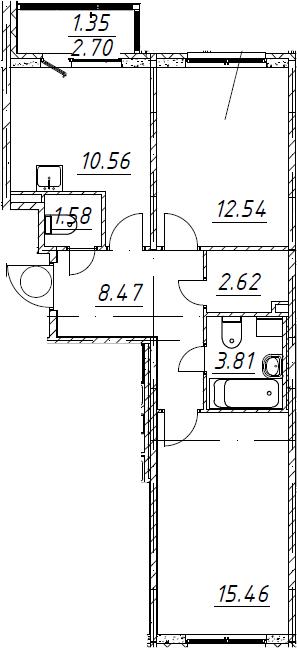 2-к.кв, 56.39 м²