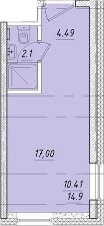Студия, 17 м²