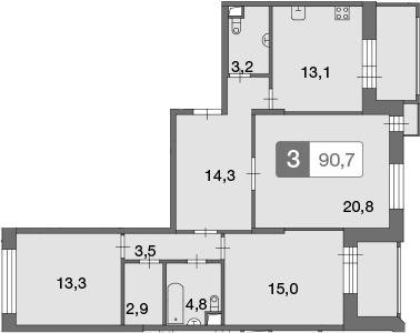 3-к.кв, 90.7 м²