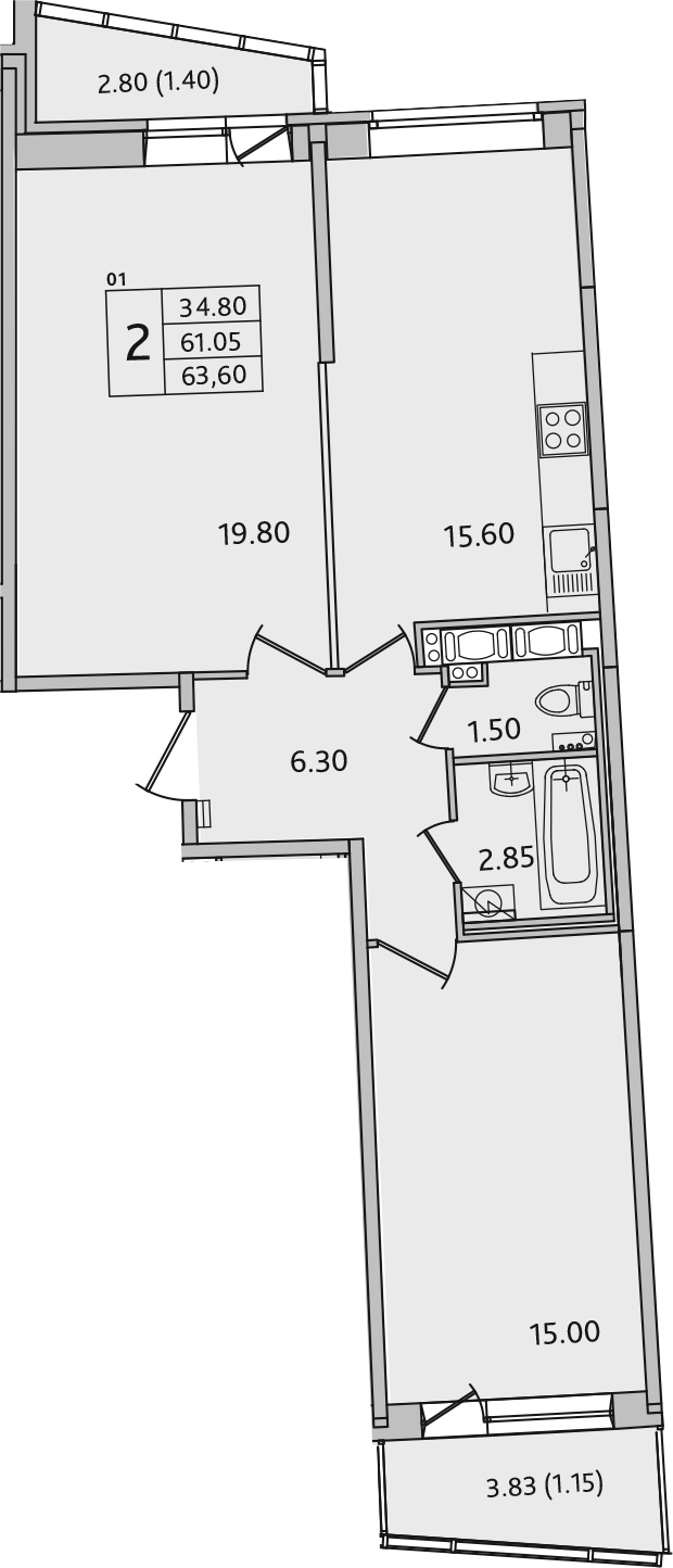 3Е-комнатная, 63.6 м²– 2