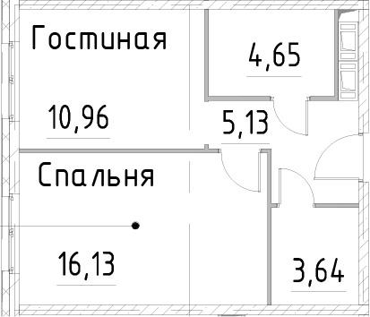 1-к.кв, 40.5 м², 21 этаж