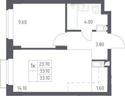 2Е-к.кв, 33.1 м², 16 этаж
