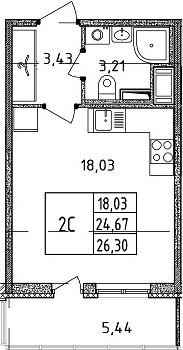 Студия, 24.67 м²– 2