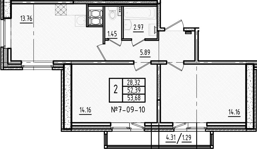 2-к.кв, 53.41 м², 9 этаж