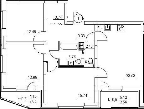 4Е-к.кв, 90.31 м²