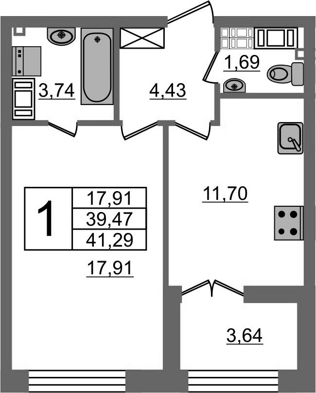 1-к.кв, 43.11 м²