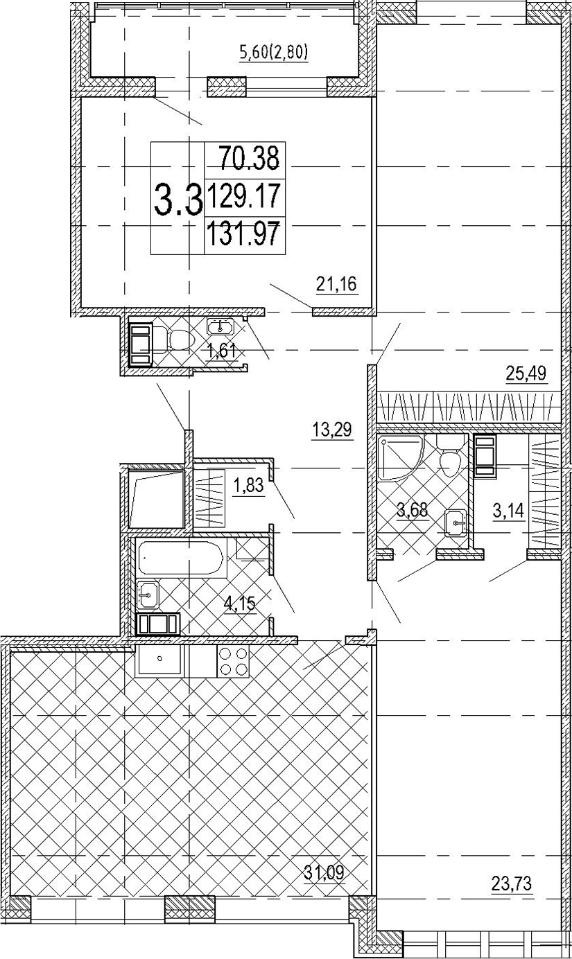 4Е-комнатная квартира, 131.97 м², 7 этаж – Планировка