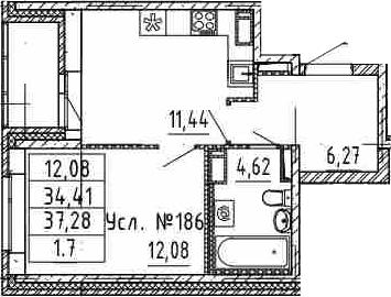 1-к.кв, 34.41 м²