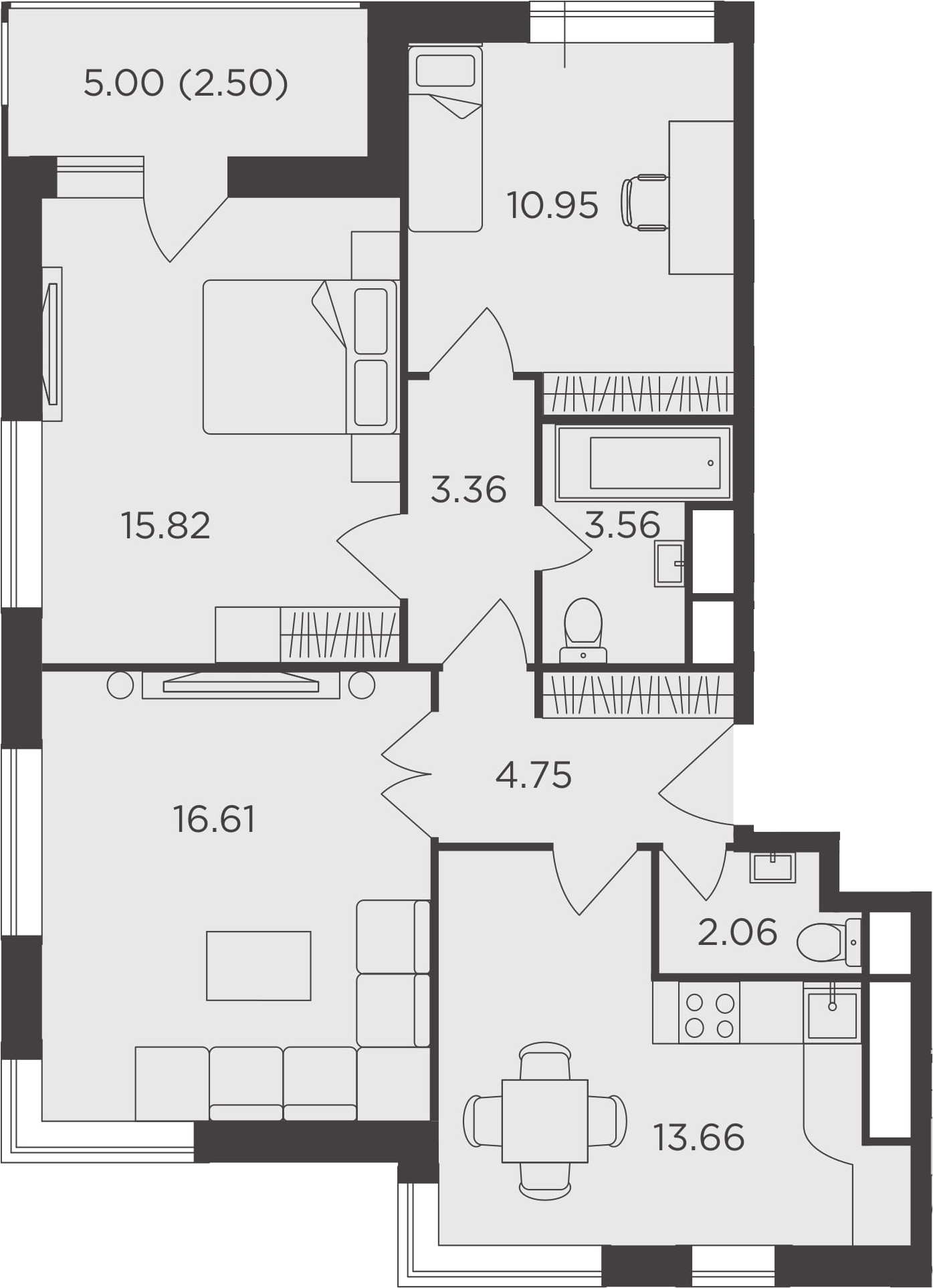 3-к.кв, 73.27 м²