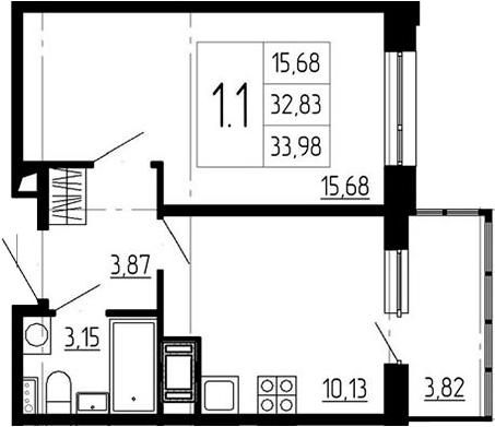 1-к.кв, 36.65 м²