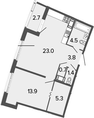 2Е-к.кв, 52.6 м²