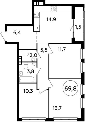 4Е-комнатная, 69.8 м²– 2