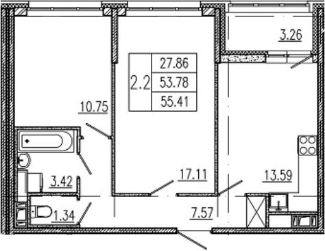 3Е-комнатная, 53.78 м²– 2