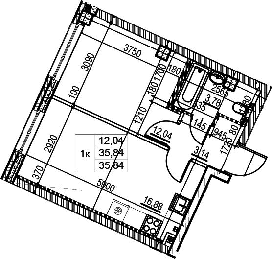 2Е-к.кв, 35.84 м²