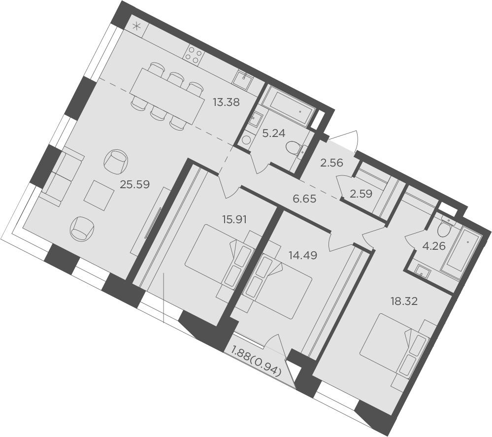 4Е-к.кв, 109.93 м², 3 этаж