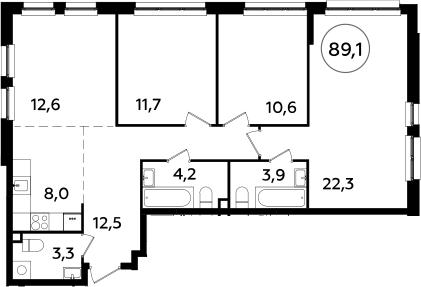 4Е-комнатная, 89.1 м²– 2
