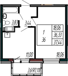 1-к.кв, 40.02 м²