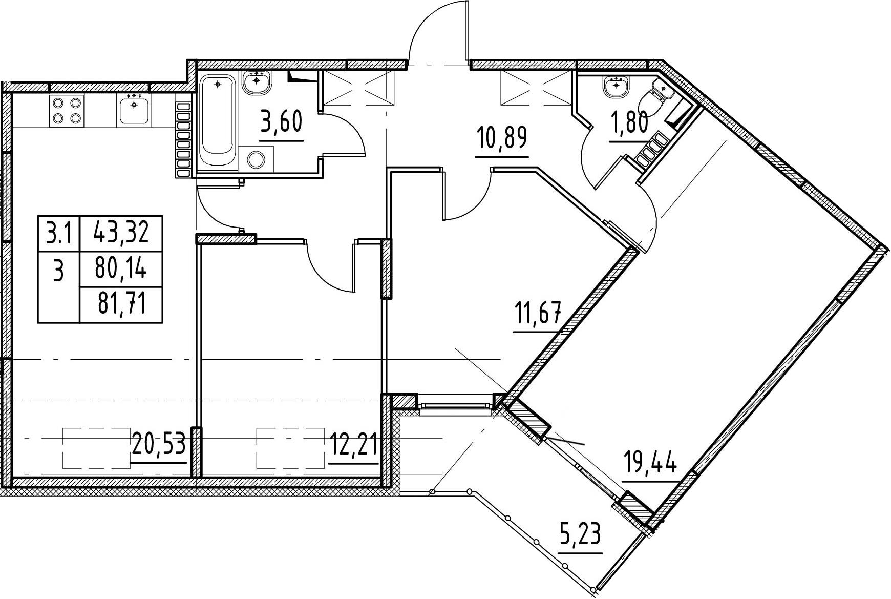 3-к.кв, 80.14 м²