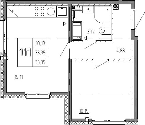 2Е-комнатная, 33.35 м²– 2