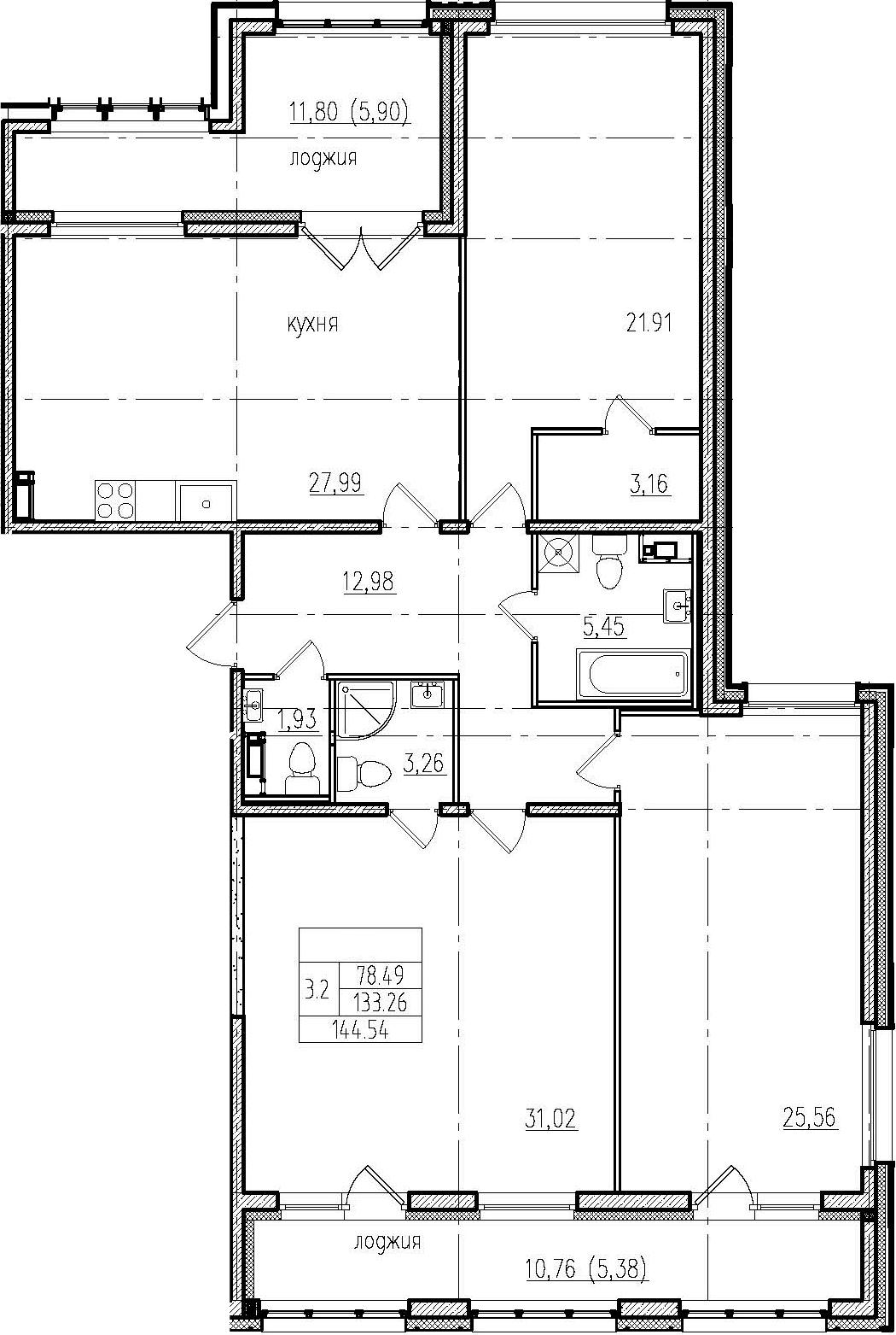 4Е-комнатная, 144.54 м²– 2