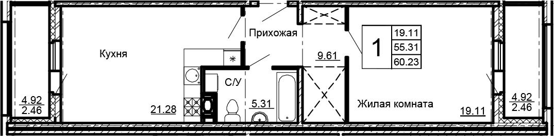2-к.кв (евро), 65.15 м²