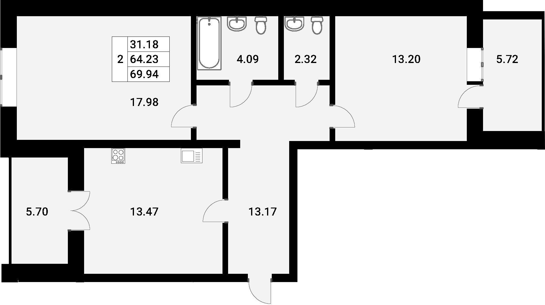 2-к.кв, 69.94 м²