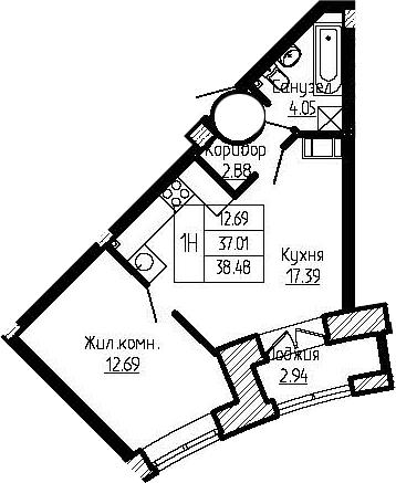 2-к.кв (евро), 39.95 м²