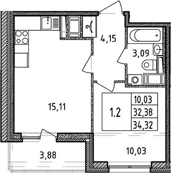 2Е-к.кв, 32.38 м², 3 этаж